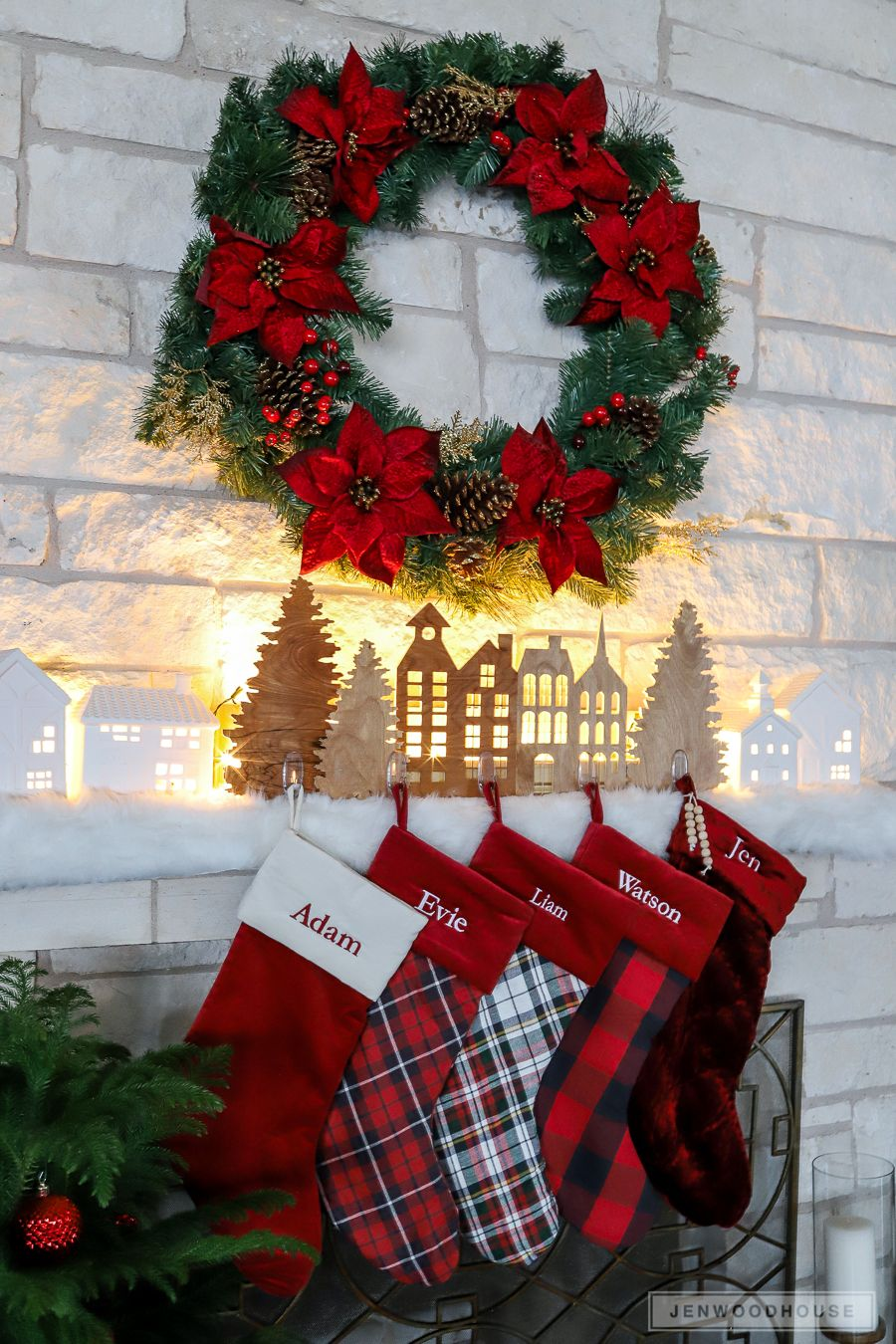 Pack of 2 Shiny Red and White Stocking Container Christmas Decorations 22