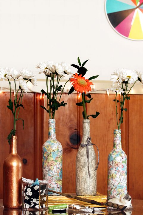 diy collage map wine bottle centerpiece
