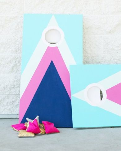 diy cornhole idea pink metallic