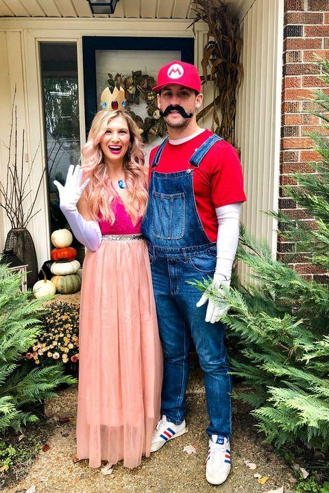 couple dressed as mario and princess peach
