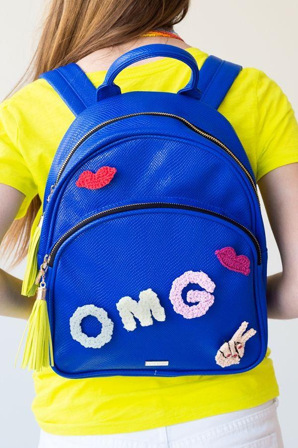back to school diy backpack crochet pins