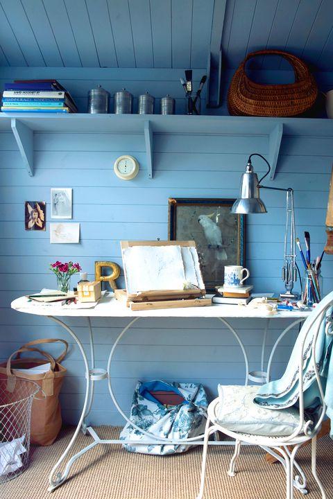 desk in blue home studio