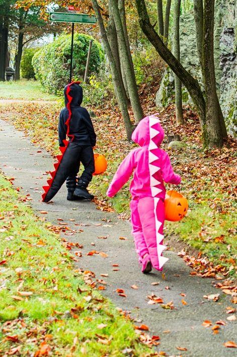 diy dinosaur costume   pink and black dinosaurs