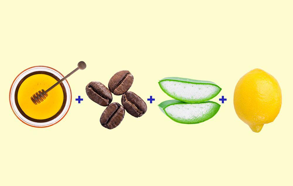lemon coffee aloe honey scrub
