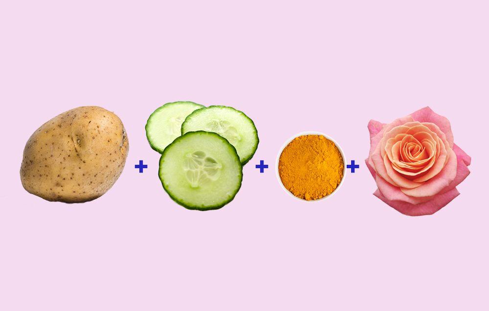 potato cucumber turmeric rose water face mask