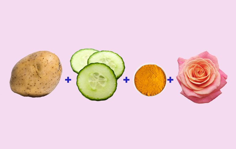 potato cucumber turmeric rose water face mask