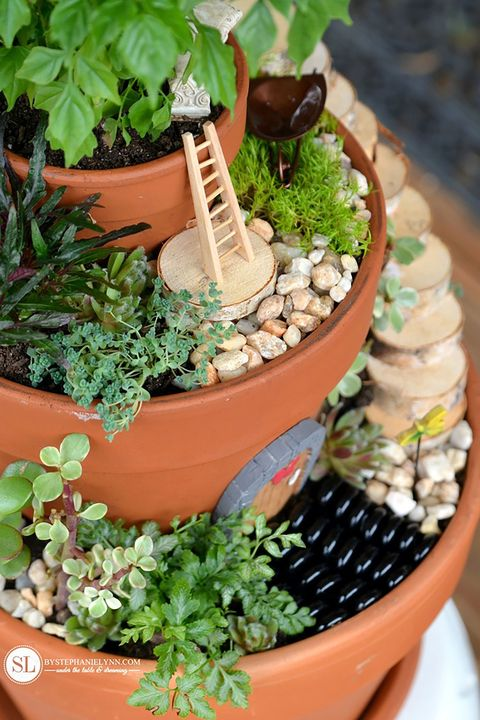 flower pot fairy garden idea - Fairy Garden Miniatures