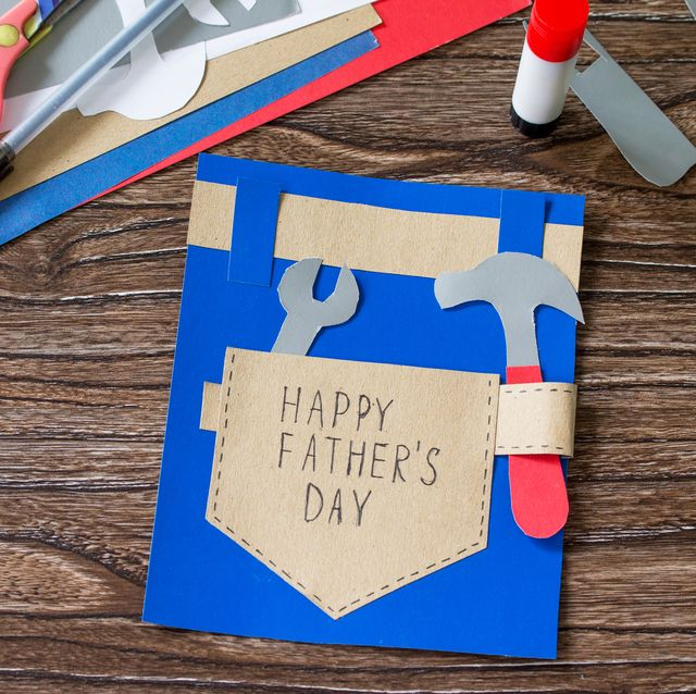 greeting card with happy fathers day on wooden table childrens art project craft for kids craft for children