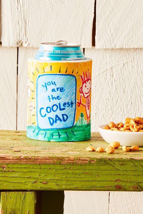 diy fathers day gifts  kid artwork koozie