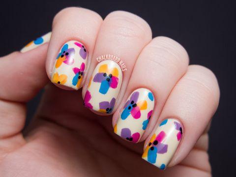 bright floral diy easter nail design