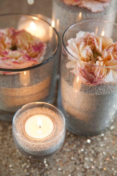 flower and sand centerpiece diy wedding centerpieces