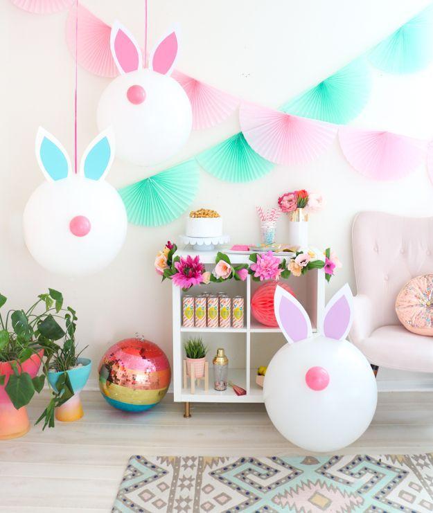 diy giant bunny balloons easter party idea