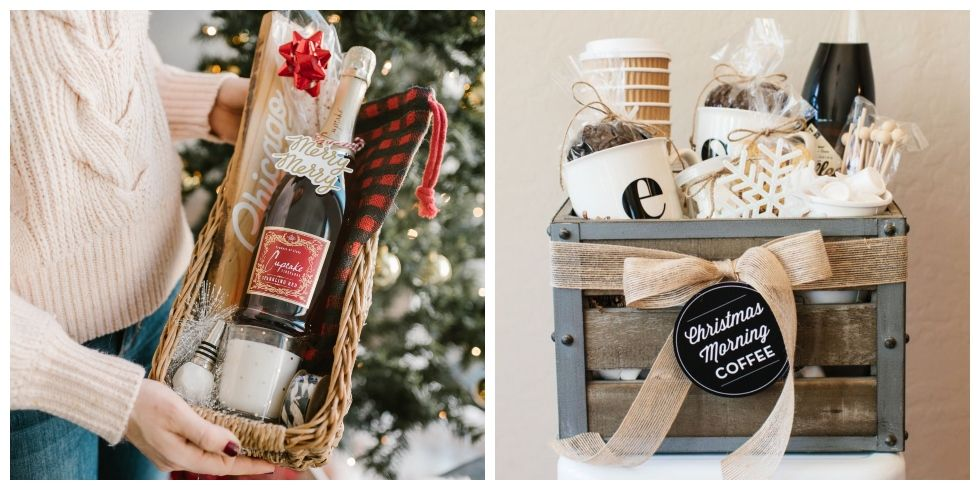 18 diy christmas gift basket ideas how to make your own holiday gift baskets. Black Bedroom Furniture Sets. Home Design Ideas