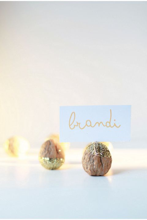 diy glittered walnut place card holders
