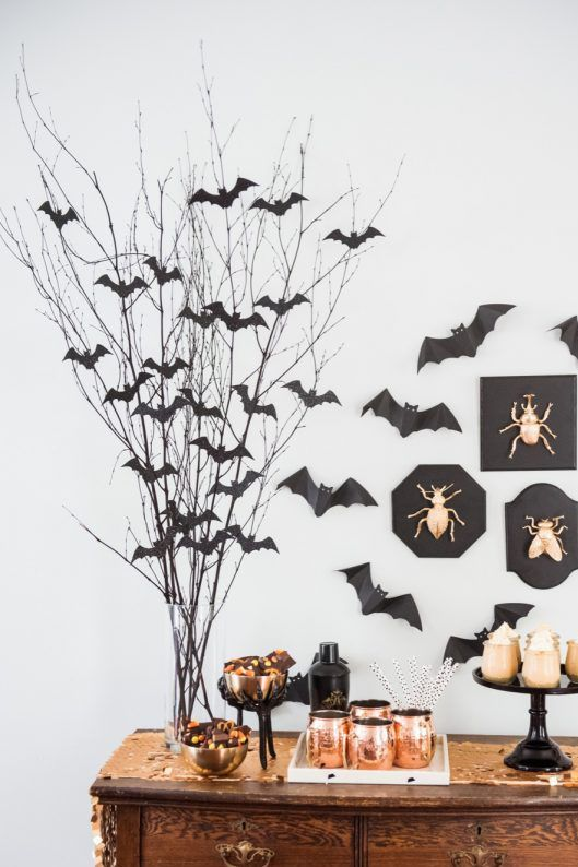 diy halloween decoration bat branch centerpiece