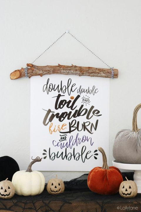 diy halloween decoration double double toil and trouble banner