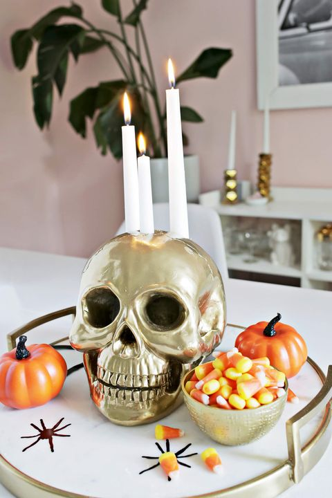 diy halloween décoration crâne bougeoir