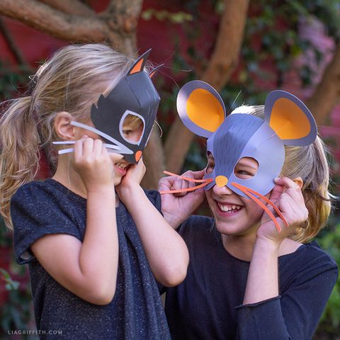 diy halloween masks cat and mouse mask