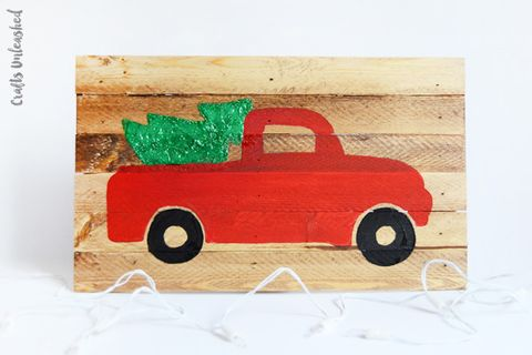 Old Truck With Christmas Tree Painting.60 Diy Christmas Decorations Homemade Christmas Decor Ideas