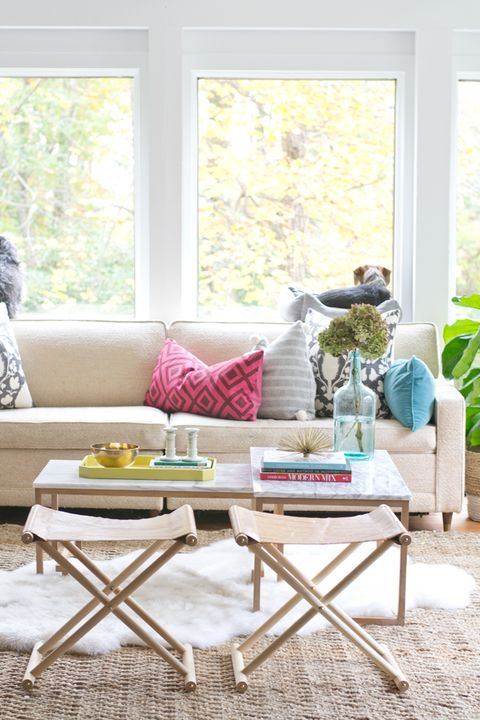 Furniture, Coffee table, Living room, Room, Table, Interior design, Yellow, Home, studio couch, Window,