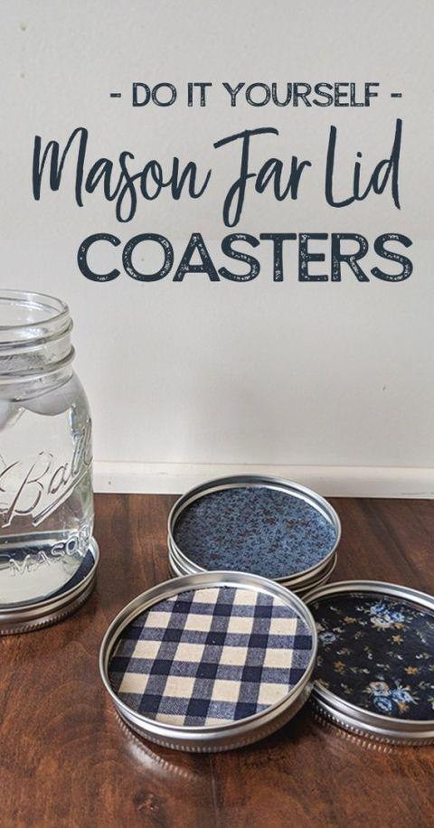 diy mason jar lid coaster idea
