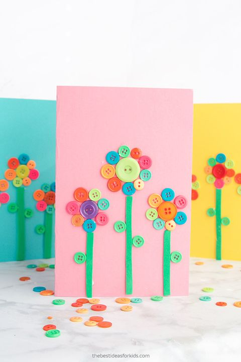 button flower art card