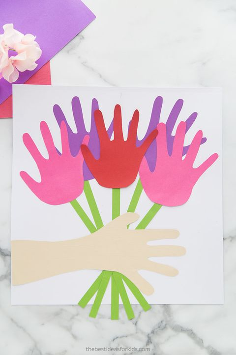 diy mothers day cards handprint floral bouquet