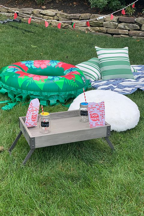 diy movie night seating pool floats pillows and blankets