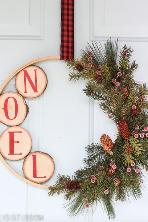 diy noel hoop christmas wreath