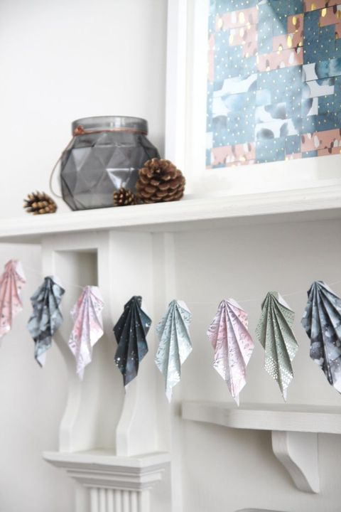 diy origami leaf garland fall mantel decor