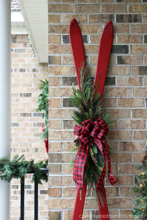 diy outdoor christmas decorations skis