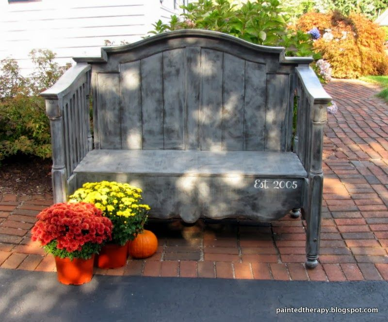 Painted Therapy Outdoor Garden Bench