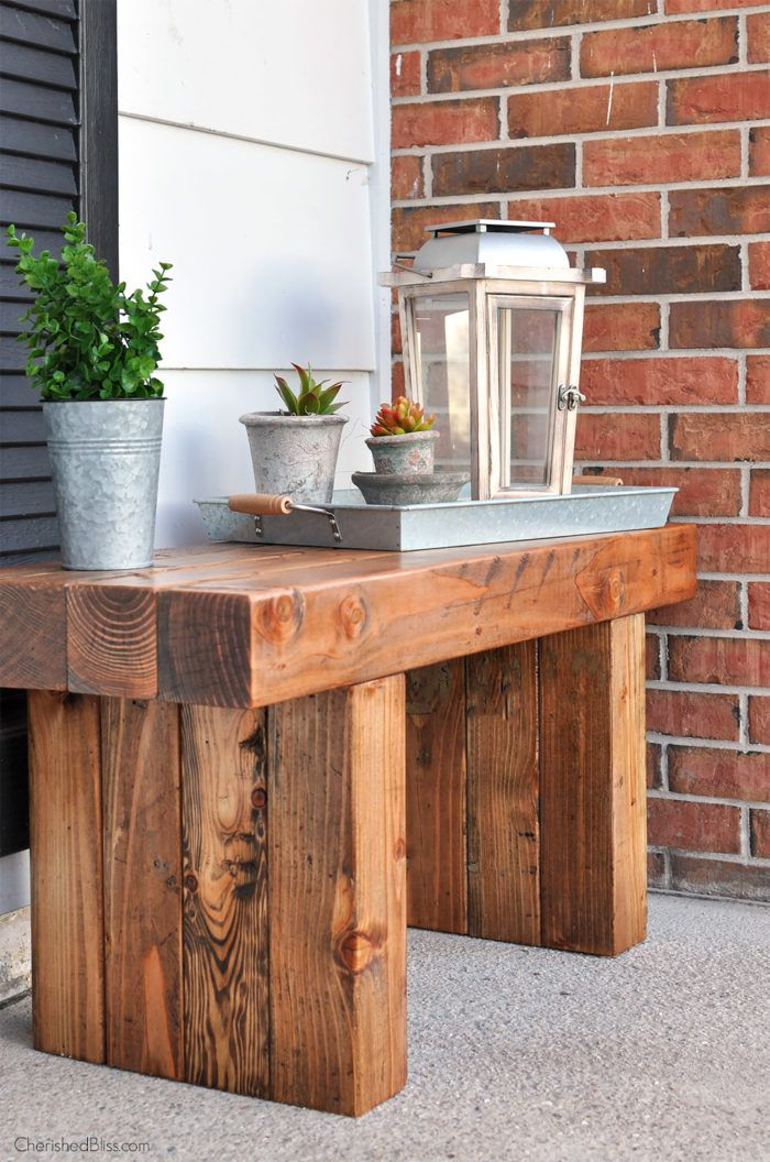 diy wood slab outdoor bench