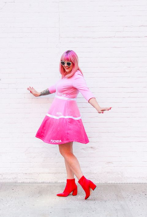woman dressed as a pink paint chip