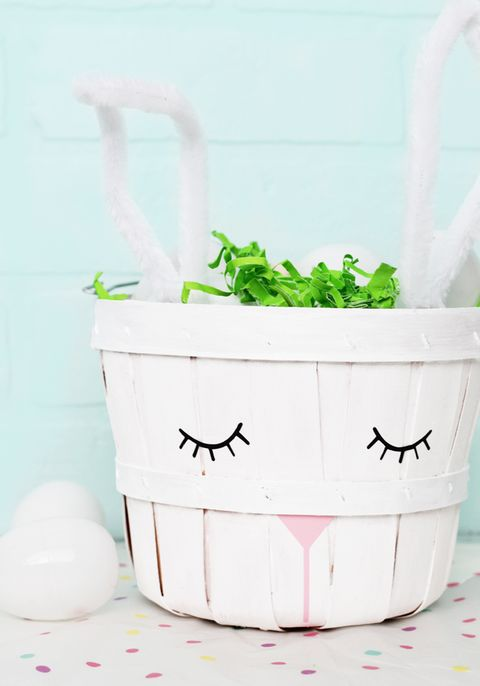 diy white easter bunny basket