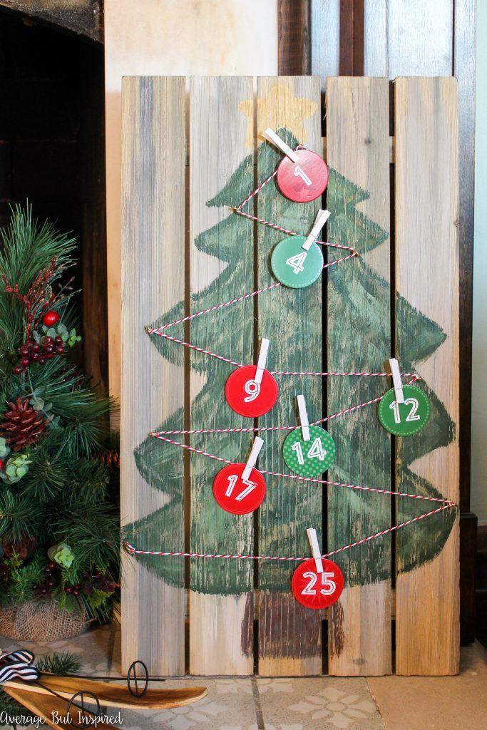Pallet Christmas Tree Advent Calendar
