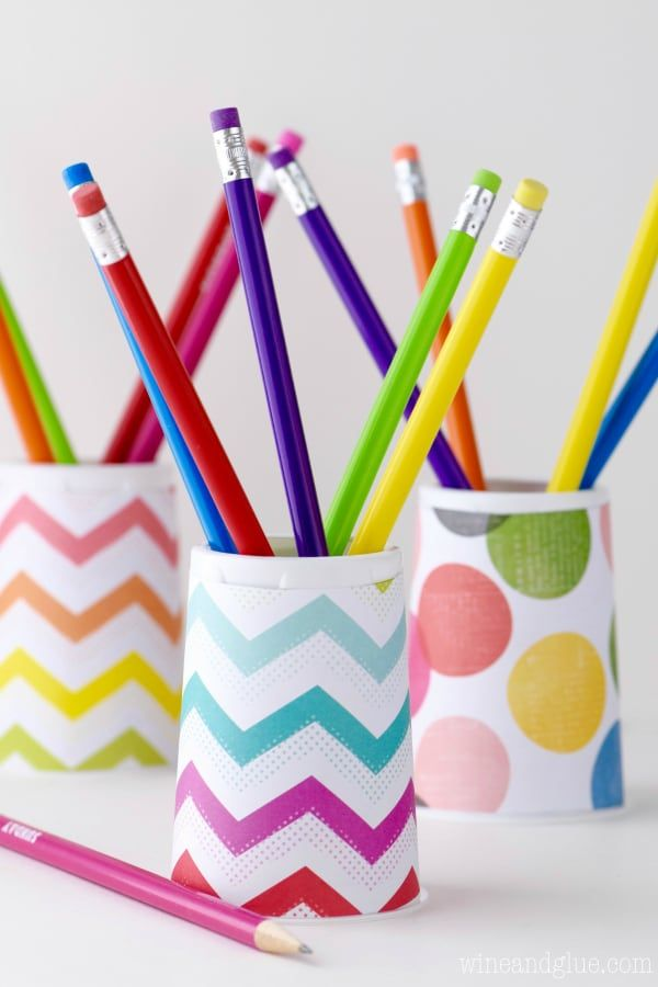 back to school activity paper cup pencil holder with colorful pencils