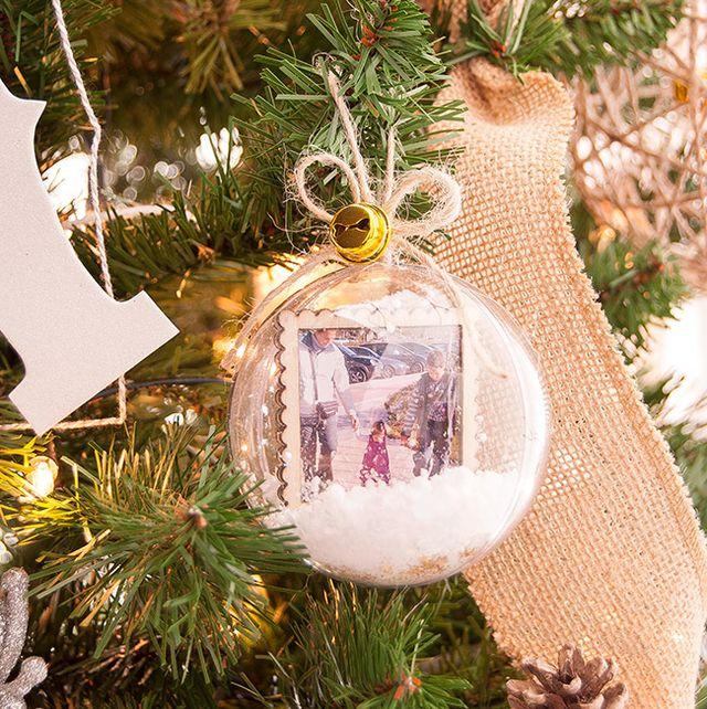 diy photo ornaments snow globe