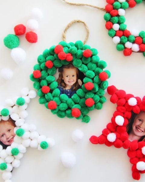 diy photo ornaments pom pom
