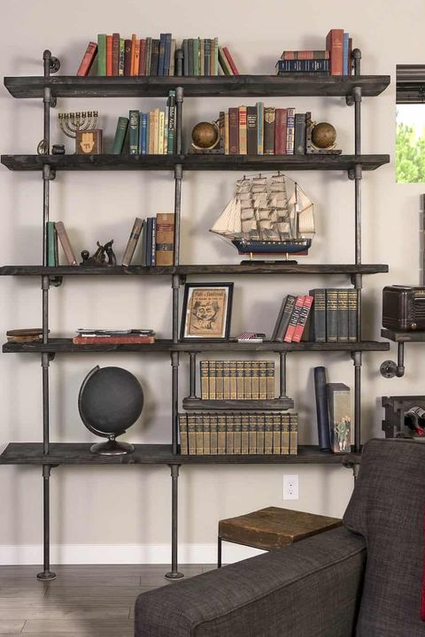 Shelving, Shelf, Bookcase, Furniture, Room, Wall, Iron, Living room, Interior design, Table,