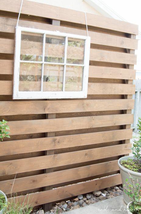 diy planked backyard privacy wall