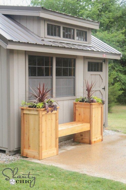 planter garden bench