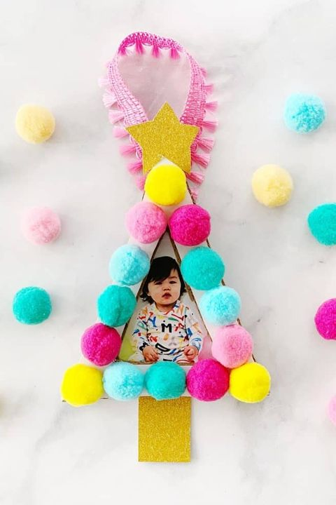 diy pom pom photo ornament