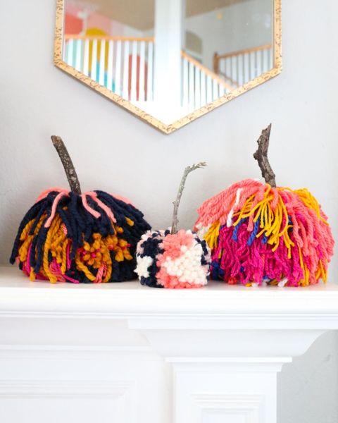 diy pom pom pumpkins fall mantel decor