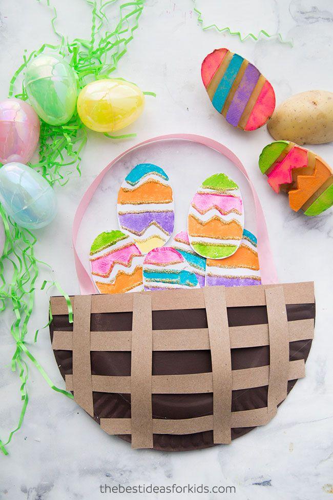 potato easter egg stamp kids craft