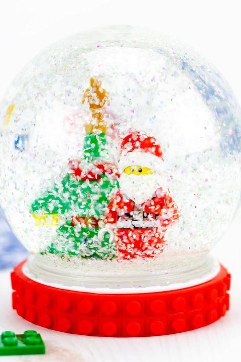 diy snow globe made with legos