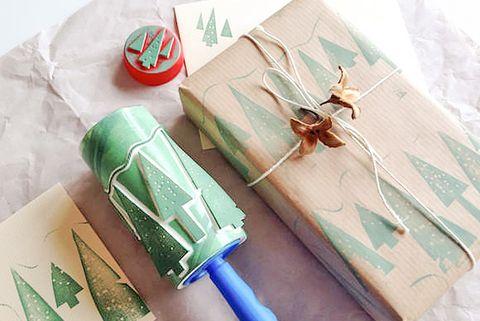 diy stamp gift wrap