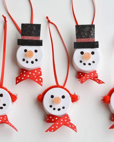 DIY Tea light Snowman Ornament