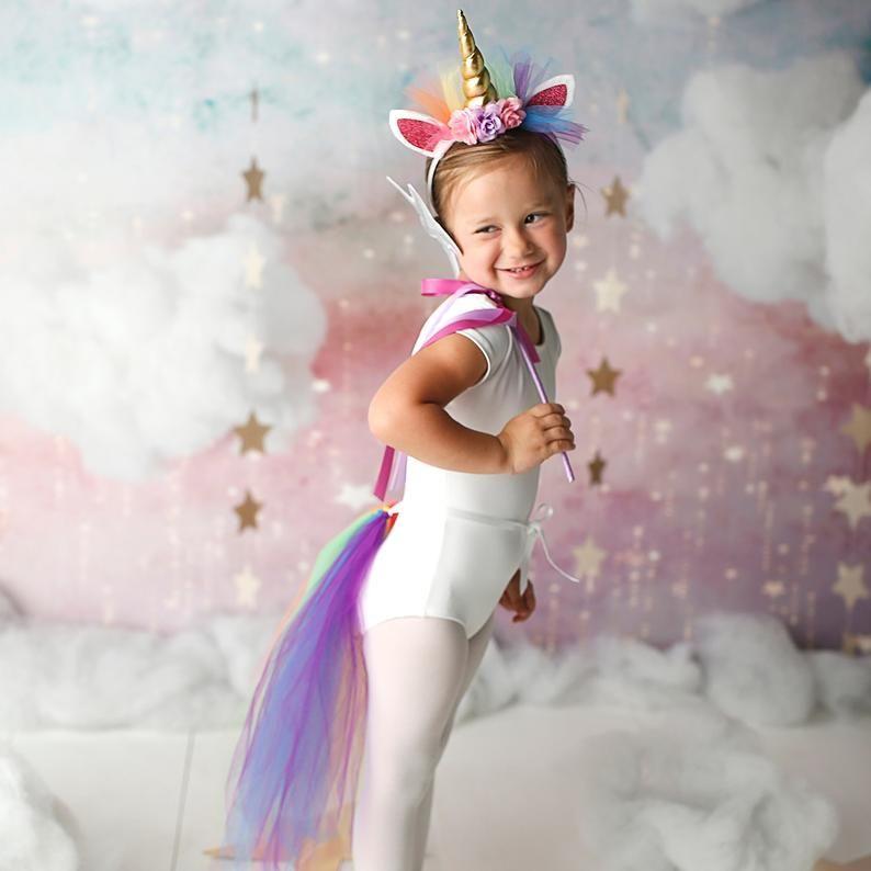 Girls Kids Unicorn Hoodie Pink White Fancy Dress Mythical Childrens Costume