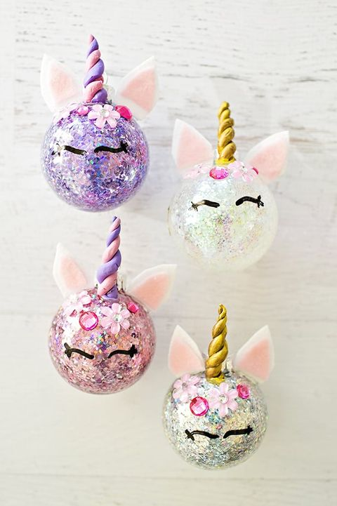 diy unicorn ornament sparkle - Unicorn Christmas Decorations